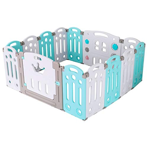 Baby Playpen Activity Area Play Yard with Multicolor Indoor Safety Gates, 14-Panel Portable Playpen for Babies and Toddlers