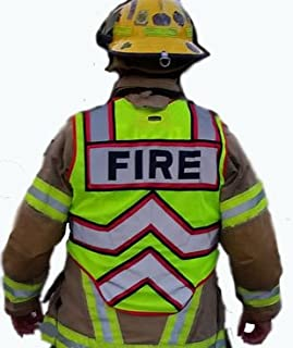 FIRE NINJA FIRE VEST-Class 2 Reflective-High Visibility Public Safety Vest-Bright Neon Reflective Colors-Double Breakaway Zipper-For Fire and Public Saftey Departments(Regular-Red)