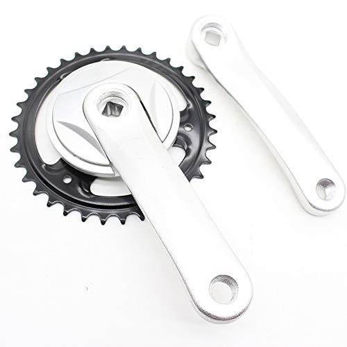 LYHMHZ Cranksets for Bikes 36T Single Speed Children's Bicycle Crankset Electric Scooter 140 Aluminum Alloy Square Hole Crank Tooth plate Parts (Color : Silver)