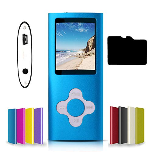G.G.MartinsenVersatile MP3/MP4 Player with a 16GB Micro SD Card, Support Photo Viewer, Mini USB Port 1.8 LCD, Digital MP3 Player, MP4 Player, Video/Media/Music Player (Dark Blue)