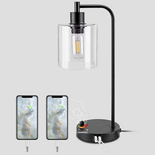 Industrial Table Lamp Fully Stepless Dimmable Modern Nightstand Lamp with Dual USB Port Glass product image