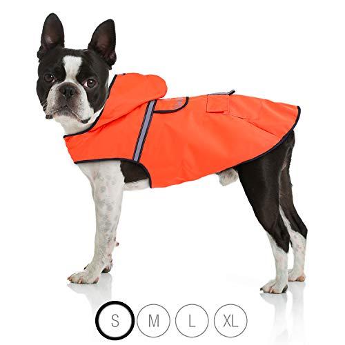 Bella & Balu Hunderegenmantel – Wasserdichter Hundemantel mit Kapuze und Reflektoren für trockene, sichere Gassigänge, den Hundespielplatz und den Urlaub mit Hund (S | Orange)