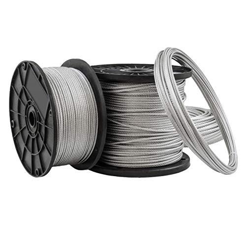 [DQ-PP] 50 m Drahtseil 4mm TOP ARTIKEL 6x7 Stahlseil verzinkt Drahtseil Seil Stahl Draht Forstseil Windenseil