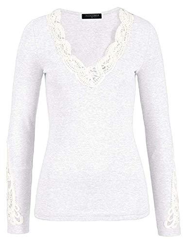TrendiMax Damen V-Ausschnitt Langarmshirt Baumwolle Shirt Langarm Casual Oberteile,Weiß,M