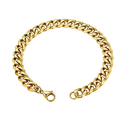 GoldChic Jewelry 9 mm gouden schakelband Miami Cubaanse armband, 316L roestvrijstalen platte schakel voor heren