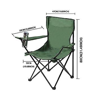 LncBoc Chaise de camping pliante légère et portable avec sac de transport et porte-gobelets ? Cadre en acier léger et portable pour extérieur, pêche, festival, plage (vert)