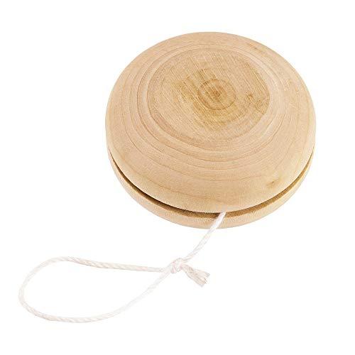 Jojo aus Holz mit befestigtem Band mittig | Naturholz | Holzspielzeug | Spielzeug aus Holz | Geschenk für Kinder | Mädchen | Jungen | Jo-Jo | Natur |