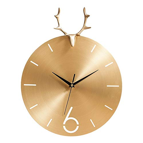 HY Cobre Puro Animal De Oro Ciervos De Alta Ley De Cabeza En Silencio Reloj De Cuarzo Salón Pared De La Oficina Decoración Dormitorio Simple Reloj Europea 30 * 3.5 * 38cm