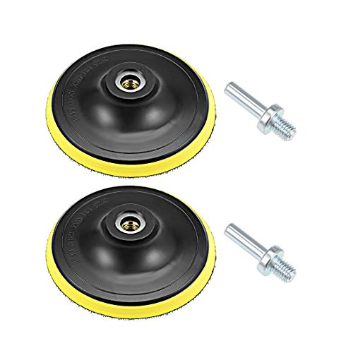 uxcell 5' Hook and Loop Backing Pad Sanding Polishing Backer Plate with M10 Drill Adapter for Random Orbit Sander Polisher Buffer 2pcs