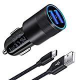 AILKIN Samsung Car Charger, 3.4A Dual Port Fast USB C Car Charger Adaptor