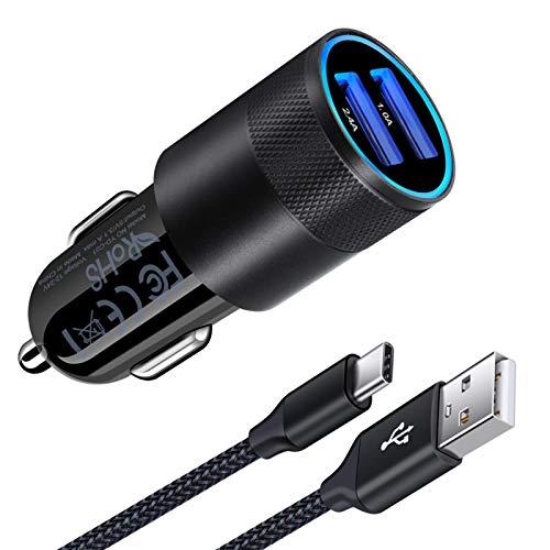 AILKIN Zigarettenanzünder USB Ladegerät, 3.4A Kfz Ladegerät, 2-Port USB Auto Ladegerät Ladeadapter mit USB C Ladekabel für Samsung Galaxy S20/S20 Ultra/S10/S9/S8, Note 20 Ultra/20/10/9/8