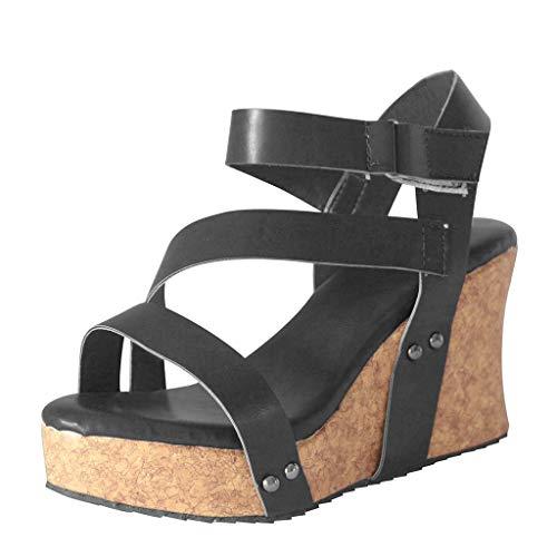 Vovotrade Fashion Retro dames platina-klinknagels open sandalen met metallic kleur en stijlvol design