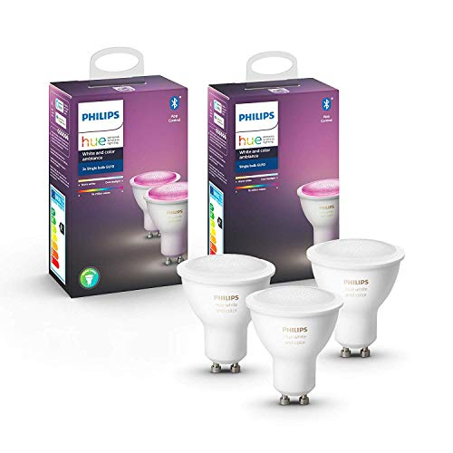 Philips Hue Pack de 2 Bombillas Inteligentes LED GU10, con Bluetooth, Luz Blanca y Color + Bombilla Inteligente LED GU10, con Bluetooth, Luz Blanca y Color, Compatible con Alexa y Google Home