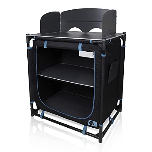 your GEAR Tanaro - Cocina para exteriores con protección contra el viento, 2 compartimentos, 76 x 53,5 x 83/107 cm