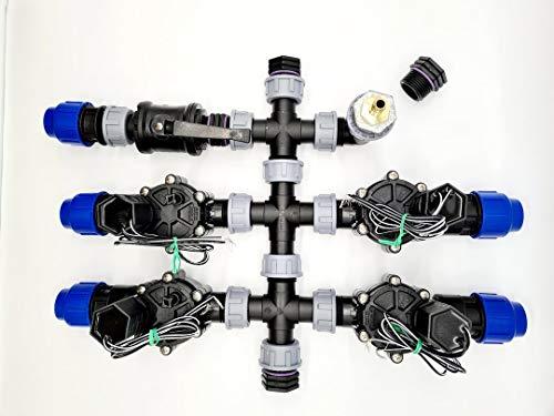 Répartiteur prémonté pour boîte de vanne avec valve magnétique Rain Bird - Raccord tuyau PE 32 mm (4 zones).