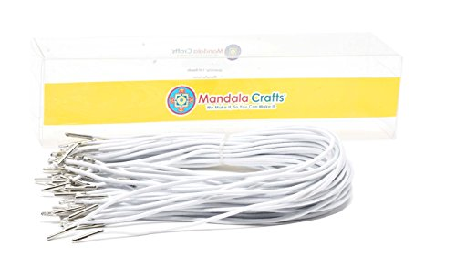 Mandala Crafts Elastic Barbed Cord, Stretch Loop Band with Metal Ends for Masks, Hats, Menus, Badges, Signs; 9 Inches 50 Loops, White