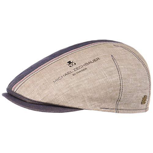 Michael Zechbauer Philipp Sevilla Flatcap Schirmmütze Schiebermütze Leinencap Sommercap (56 cm - blau-meliert)