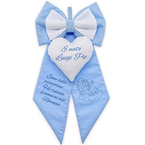 Fiocco nascita azzurro da personalizzare con ricamo di frasi...