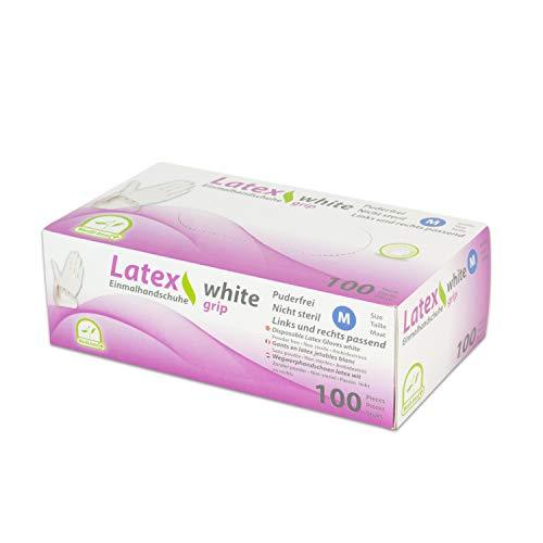 WORK-INN Einweghandschuh in Größe L | 100 Stück | Latex Einzelhandschuhe Weiß in praktischer Spenderbox | Ideal für Hygienebereiche - wie Lebensmittelbranche, Kosmetik UVM.