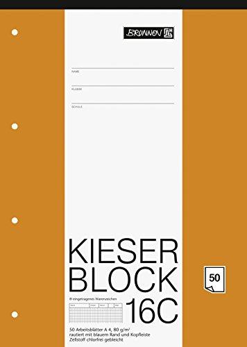 Brunnen 1042926 KIESER-Block Lineatur 23 (A4, 50 Blatt, rautiert, 80 g/m², gelocht)
