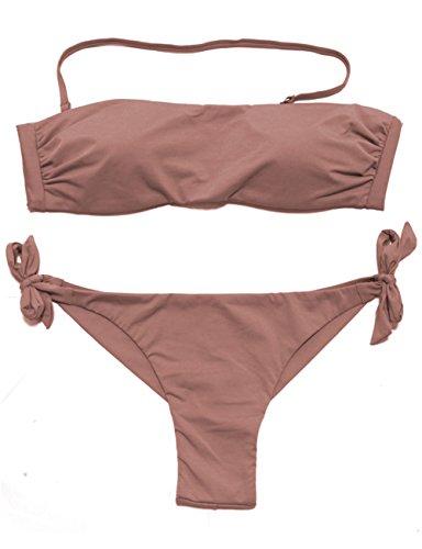 EONAR Damen Seitlich Gebunden Bikini-sets Bandeau Top Niedriger Bund Brazil-Bikinihosen, Khaki, (Größe:34-36)70B/75A/75B
