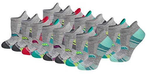 Saucony Women's Performance Heel Tab Athletic Socks (8, Grey Assorted (16 Pairs), Shoe Size: 10-13