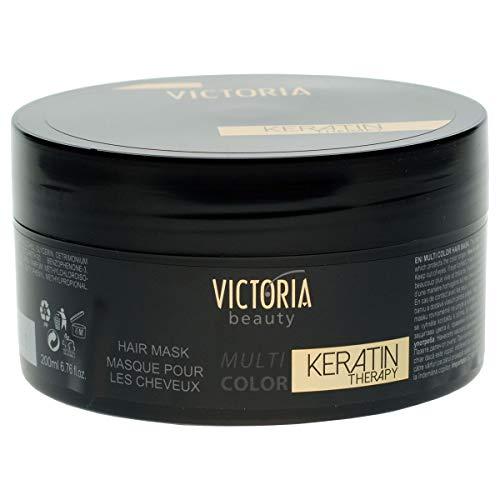 Victoria Beauty - Haarmaske mit Keratin für dauerhafte Haarglättung, geeignet für gefärbtes und geschädigtes Haar - Haarreparatur, Haarwachstum, Hair Treatment (1 x 200ml)