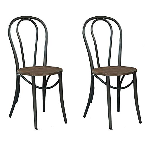 VBARV Sillas de comedor con asiento de Madera y Patas de Metal, sillas Vintage industriales, apilables, sin necesidad de instalar, juego de 2, para comedor, Sala de estar, cocina, Café