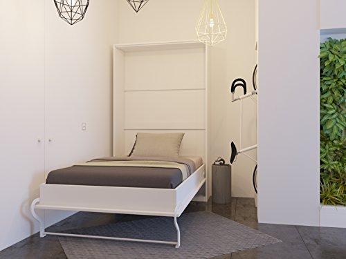 Letto a scomparsa 120 cm Verticale Bianco Letto ribaltabile & Letto a Muro SMARTBett