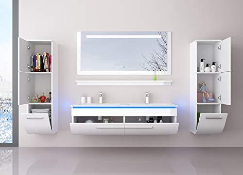 HOMELINE Badmöbel Doppelwaschbecken Set Weiß 120 cm mit 2 Hängeschränken Waschbecken Spiegel und Ablage Vormontiert Badezimmermöbel LED Hochglanz lackiert Homeline1