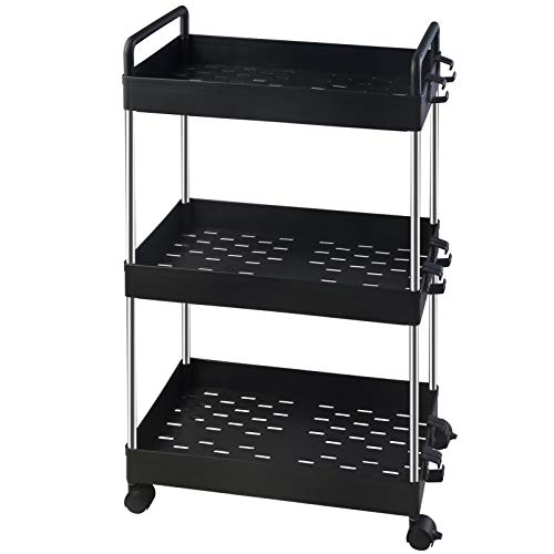Ronlap 3 Tier Classic Storage Cart, Mobile Shelving Unit with Handle, Rolling Utility Cart Slide Out Storage Organizer Tower for Kitchen Bathroom Laundry Room, Black