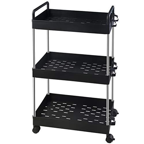 Ronlap – Carro de almacenamiento clásico de 3 niveles, estantería móvil con asa, carrito de utilidad, organizador de almacenamiento para cocina, baño, lavandería, color...