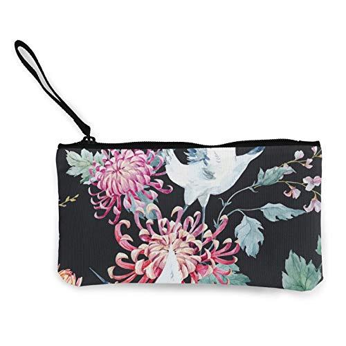 Moneda de lona, bolso de la grúa de la acuarela con cremallera, bolsa de cosméticos de viaje multifunción bolsas de maquillaje para teléfono móvil, paquete de lápices con asa