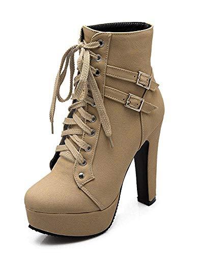 Minetom Damen Worker Boots Einfarbige Schnürsenkel Hohe Absätzen Stiefeletten mit Schnalle Blockabsatz Schuhe Outdoor Stiefel Beige EU 43