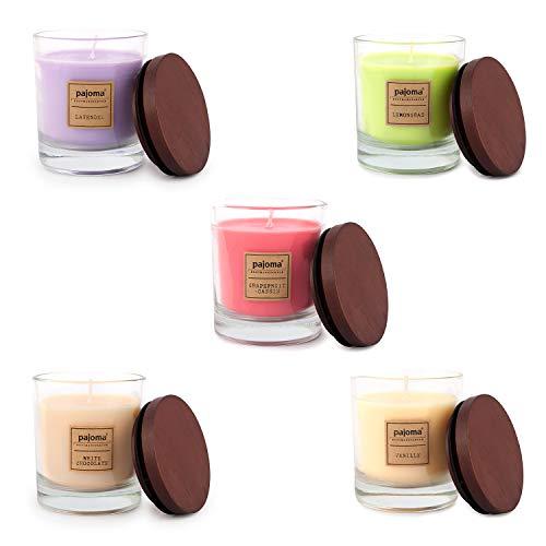 Pajoma - Velas perfumadas (5 unidades, 180 g, cristal con tapa de madera)