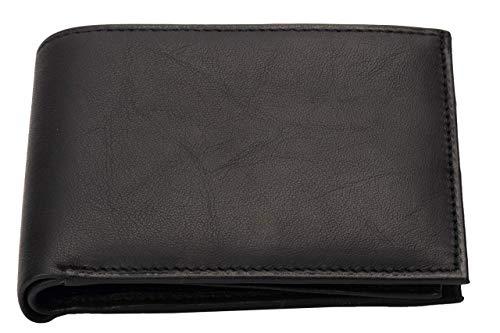 Geldbörse - Schwarze Herren Leder Brieftasche aus weichem Nappaleder - Geldbeutel mit RFID Schutz für mehr Sicherheit - Querformat