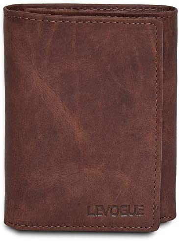 Genuine Leather RFID Blocking Slim Trifold Wallet for Men with 7 Cards 1 ID Window 2 Note Compartments product image