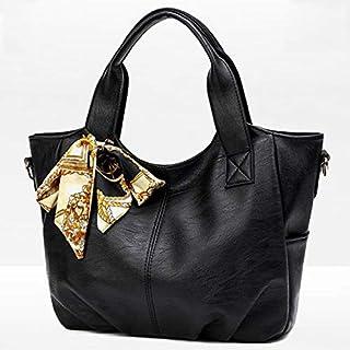 HAWEEL Anti-Theft Classic Retro Messenger Travel Leisure Fashion Silk Scarf Shoulder Bag Handbag(Black) Sling Crossbody Mini Purse One Size (Color : Black)
