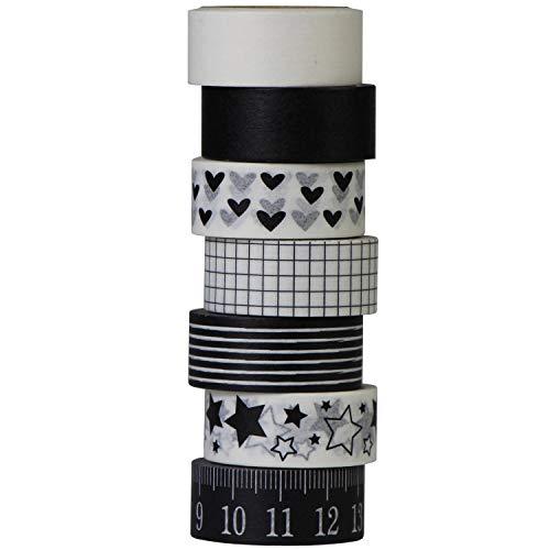UOOOM aufodara 7 Rolls Washi Tape Set Schwarz Weiß Klebebänder Liebesmuster - Pentagramm-Muster - Lineal Muster Masking Tape deko Klebeband DIY Scrapbook deko (Schwarz Weiß)