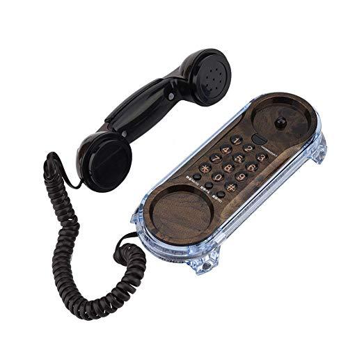 Lazmin112 Teléfono con Cable, teléfono Fijo con Cable montado en la Pared Retro de Moda Antigua con Alfombrilla Antideslizante para decoración y Regalo de Festival(Nogal Negro)