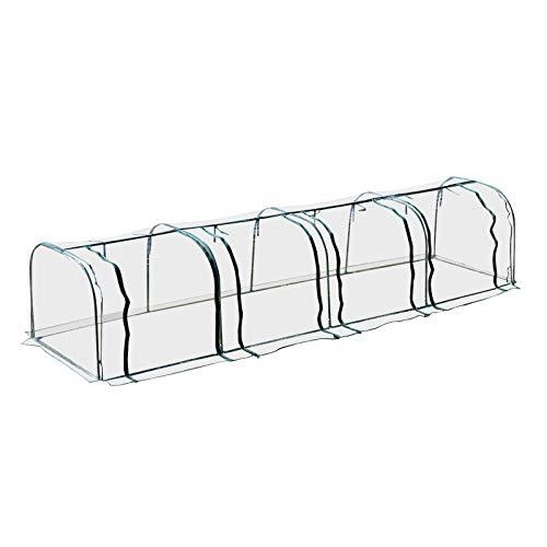 Homcom Serre de Jardin Tunnel 4L x 1l x 0,8H m 4 Portes zippées bâche PVC Transparent métal époxy Vert