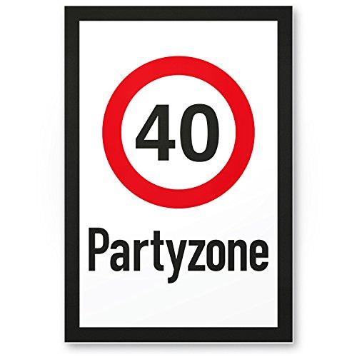 Bedankt! 40 partyzone - plastic bord, geschenk 40e verjaardag, cadeau-idee verjaardagscadeau viertigrs, verjaardagsdeco/partyaccessoires/verjaardagskaart