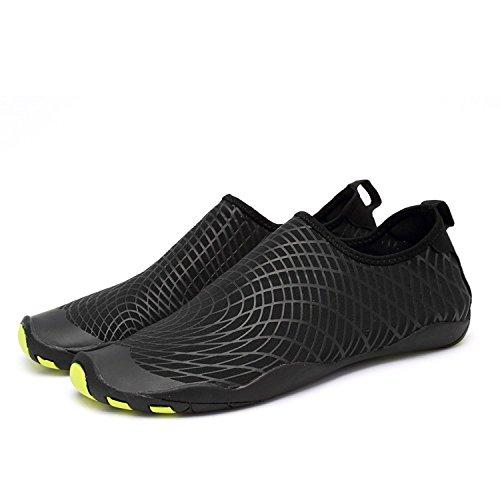 LeKuni Badeschuhe Damen Herren Schwimmschuhe Kinder Surfschuhe Barfuß Schuhe Wasserschuhe Strandschuhe Aquaschuhe rutschfeste Neoprenschuhe(41EU,ZZW_Schwarz) …