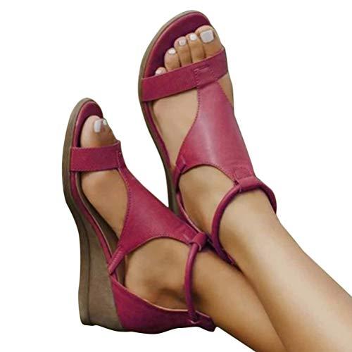 Minetom Frauen Keilabsatz Sandalen Sommer Offene Schuhe Faux Leder Plattform Rom Damen Flip Flops Freizeit Sommerschuhe A Rot 39 EU