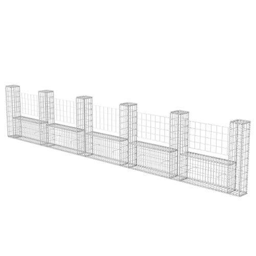 Zora Walter gabbione en réseau à u en acier 570 x 20 x 100 cm clôture jardin barrières extérieures clôture clôtures acier Kit Clôture extérieur