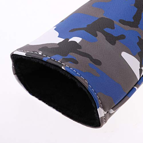 perfk 3Pcs/Set Deluxe Camouflage PU Golf Club Wood Driver Head Cover Headcover & No. Tag 2 3 4 5 7 X - Blue Camo