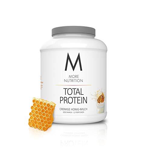 MORE NUTRITION Total Protein (1 x 600 g) - Whey Eiweißpulver mit Casein, Aminosäuren und Laktase für Muskelaufbau (Milch mit Honig)