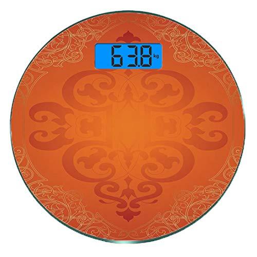 Escala digital de peso corporal de precisión Ronda naranja Báscula de baño de vidrio templado ultra delgado Mediciones de peso precisas,Motivos antiguos reales con remolinos victorianos Marco de renac