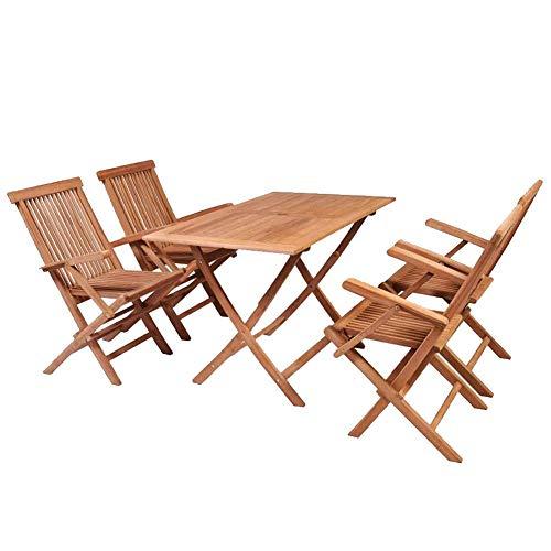 AYNEFY - Juego de muebles de jardín (madera, 5 piezas) Conjunto de muebles de jardín (madera maciza de teca)
