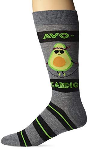 K. Bell Men s Play on Words Novelty Crew Socks, Avocardio (Charcoal Heather), Shoe Size: 6-12